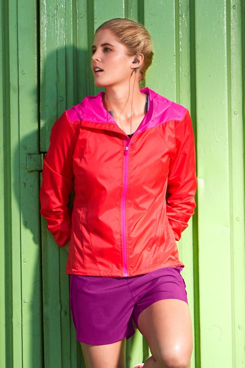 Women's Running Jacket, Light Weight, Orange/Pink