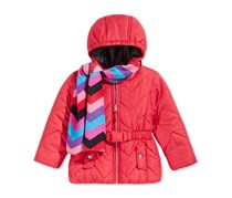 S. Rothschild 2-Pc. Quilted Puffer Jacket & Scarf Set, Red