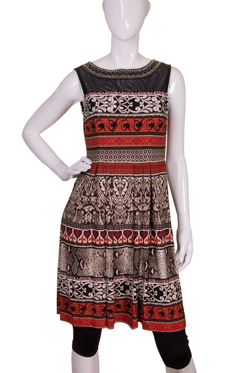Women's Sleeveless Printed Necklace Dress, Black Rust