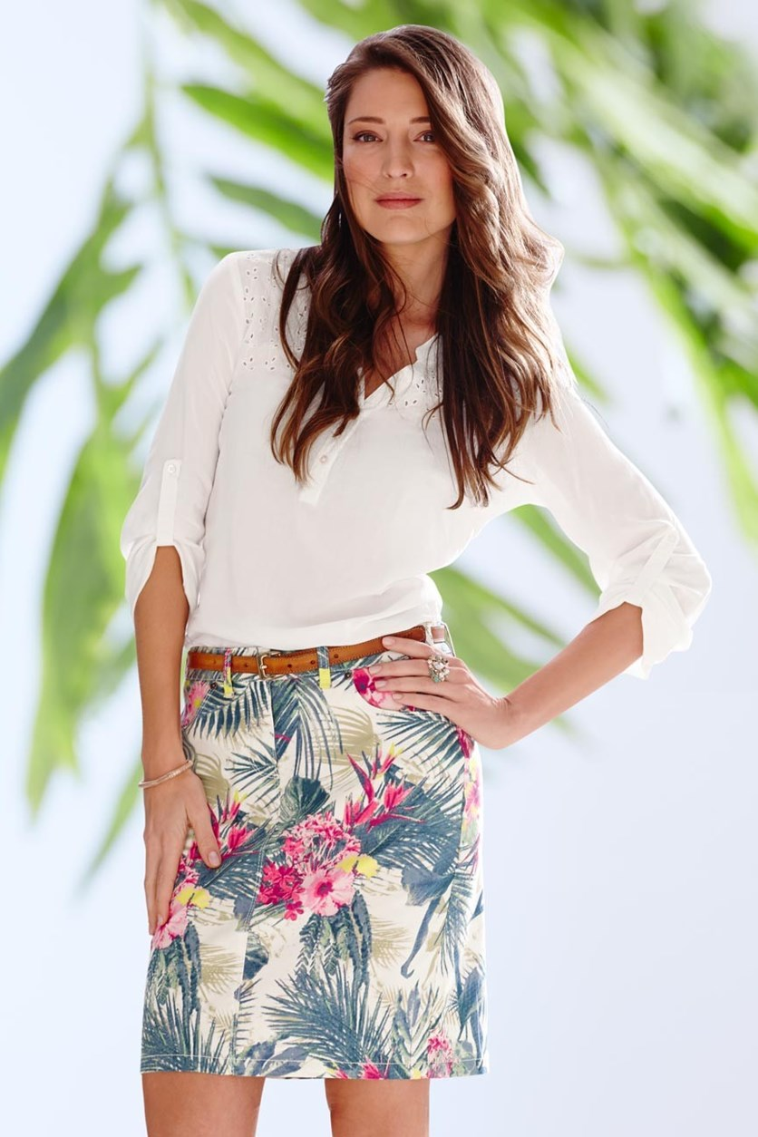 Women's Jeans Skirt, Tropical Print