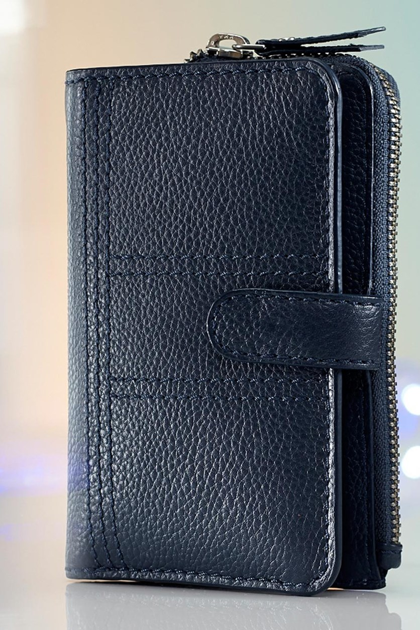 Women's Leather Purse, Small, Dark Blue