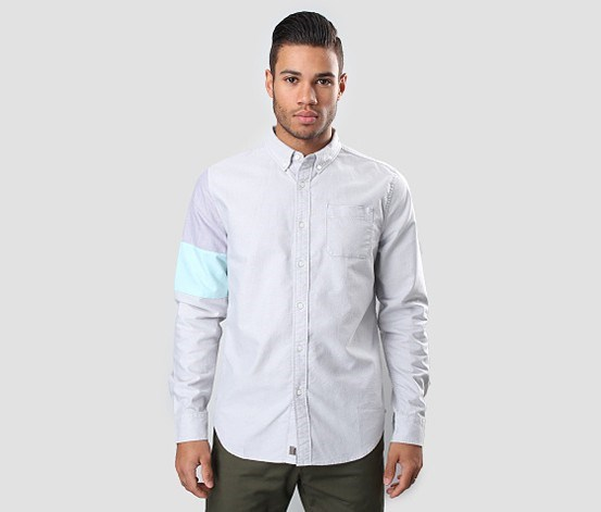 Men's Color Block Shirt, Frost Grey