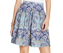 Women's Finest Paisley Print Pleated A-Line Skirt Blue