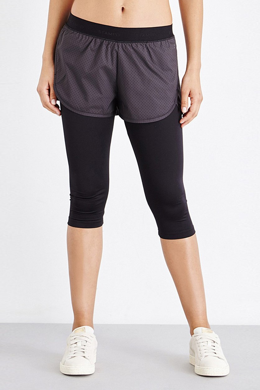 Women's X Stampd 2 in 1 Tight, Black