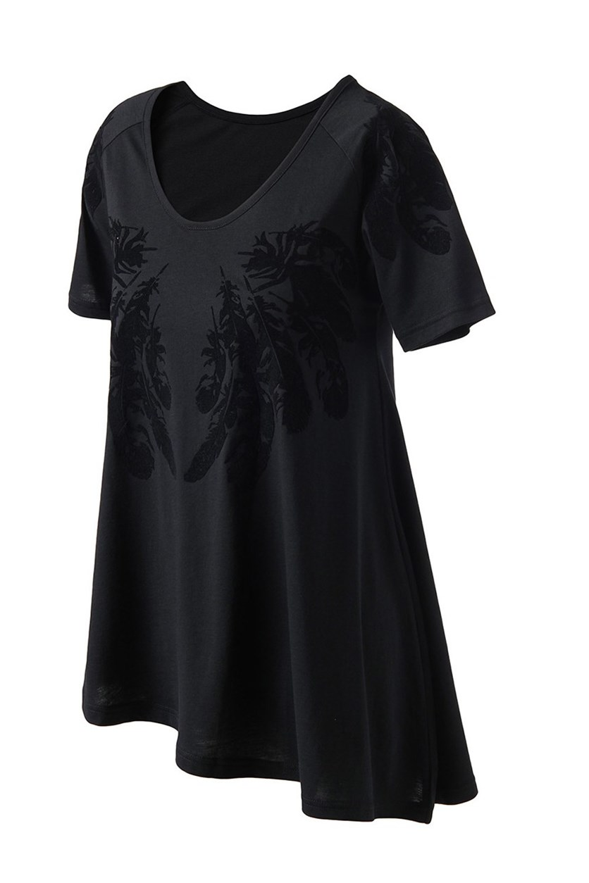 Womens Swan Top, Black