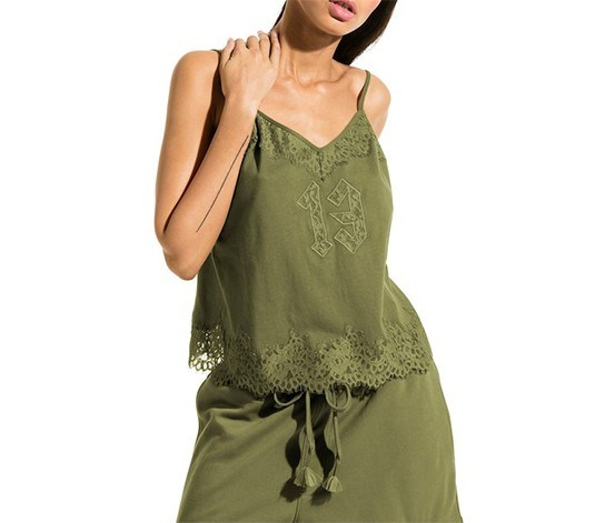 Lace Trim Sleepwear Cami, Olive Branch