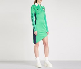 Puma Women's Asymmetric-hem Printed Sports-Jersey Dress, Fern Green