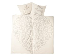 Duvet Set Percale, 155 x 220 cm, Cream with print