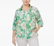 Plus Size Printed Layered-Look Shirt, Kiwi