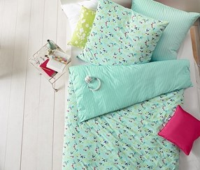 Jersey Duvet Set, Flower, Single, Blue Green Printed