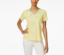 Alfred Dunner Petite Bahama Bays Embroidered Top, Yellow
