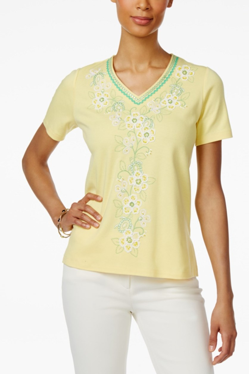 Petite Bahama Bays Embroidered Top, Yellow