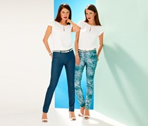 Women's Turning Pants, Denim/Palm Printed