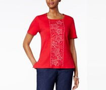 Alfred Dunner Women's Lady Liberty Bead Stars Top, Red