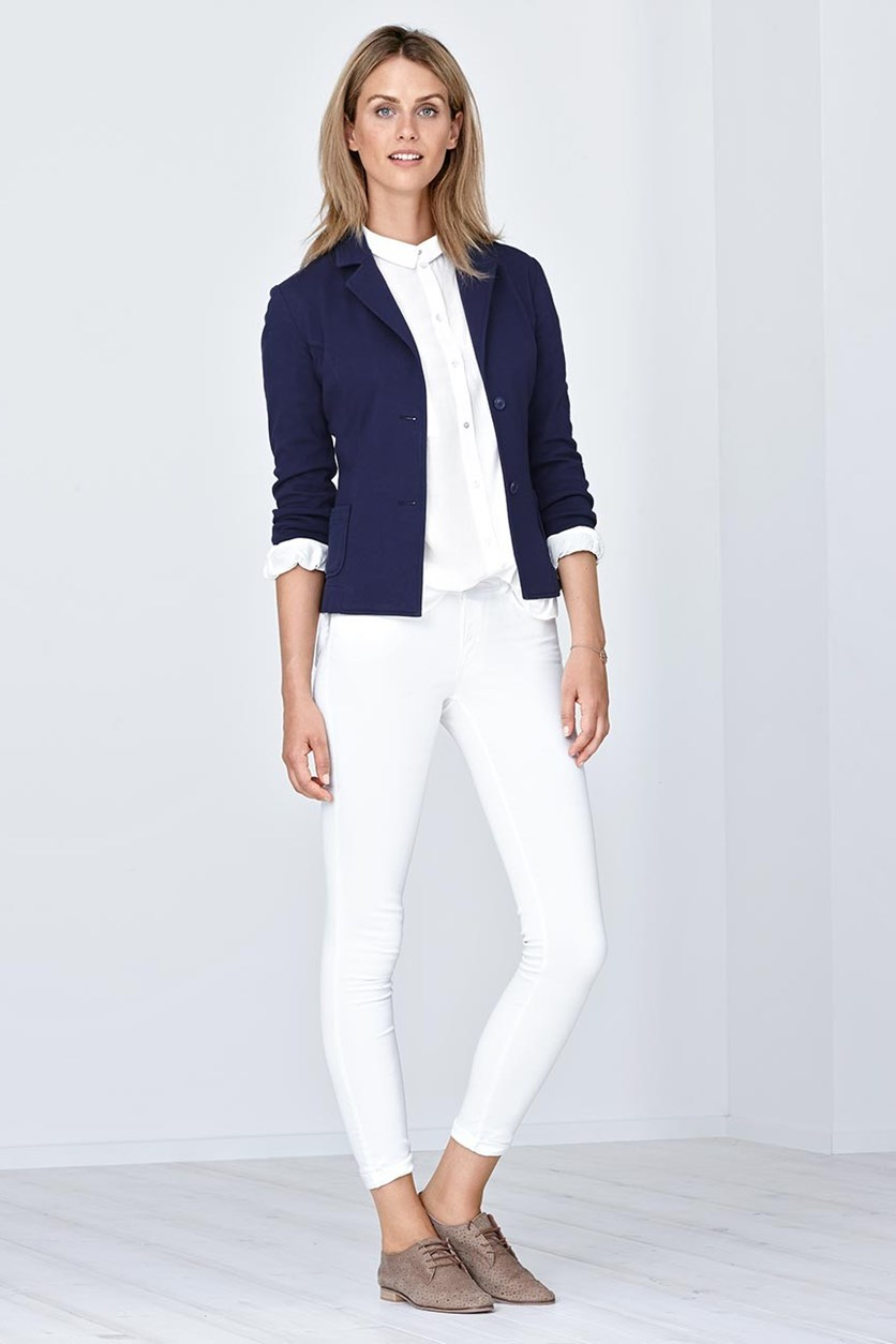 Women's Knitted Blazer, Navy