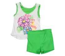 Young Hearts Knit Top And Woven Short Set, Green/White