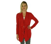 INC Womens Draped Knit Cardigan Sweater,Real Red