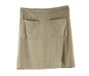 Women's Faux Suede A-line Pockets Skirt, Beige