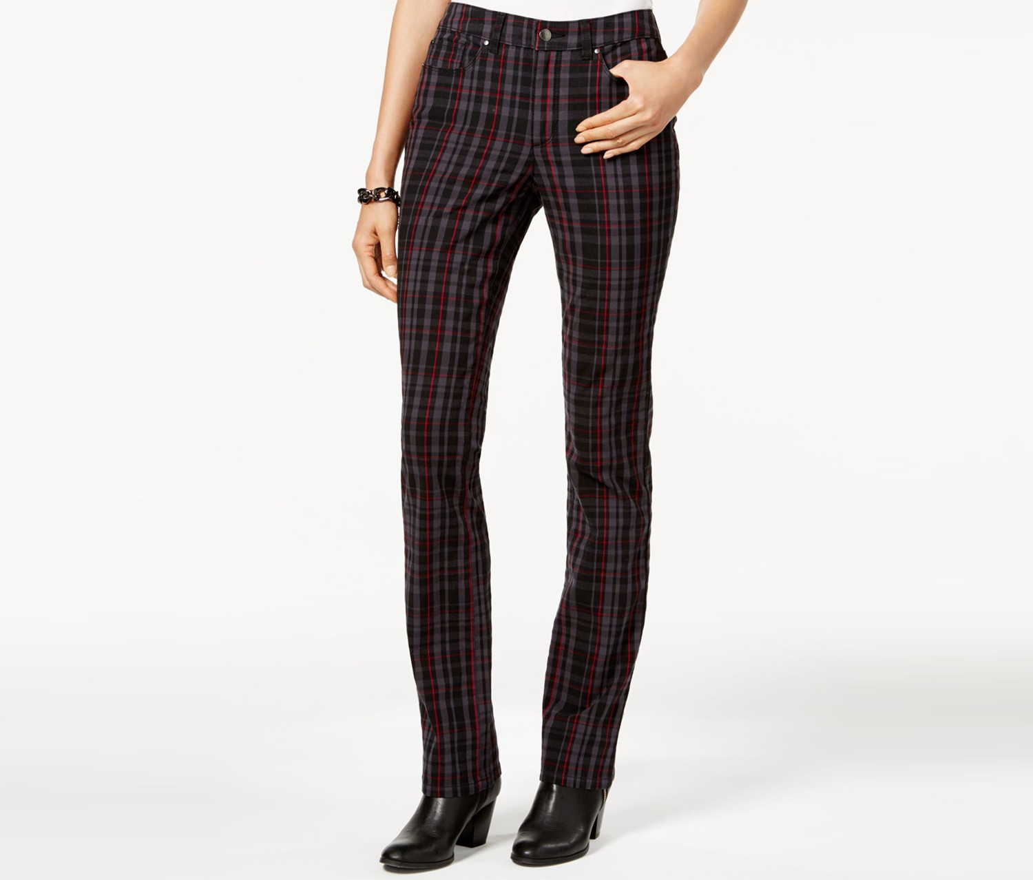 Lexington Plaid Straight-Leg Jeans, Black Combo
