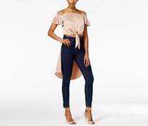Women Juniors Satin Off-The-Shoulder Top, Nougat