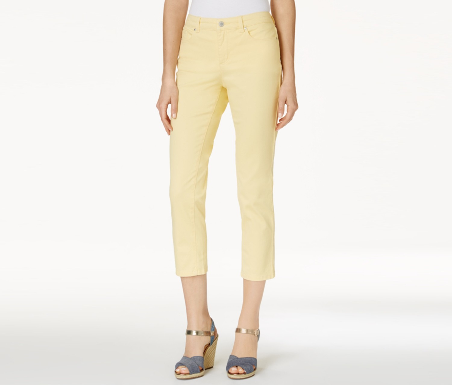 Bristol Capri Jeans, Lemon Yellow