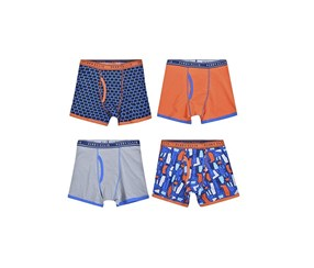 Perry Ellis Boy's 4-Pack Boxer Brief, Navy/Orange/Grey