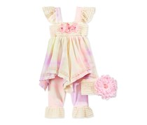 Cachcach Baby Girls 3-Pc. Tunic and Pants, Pink/Yellow
