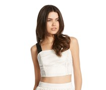Kiind Wide Strap Perforated Pleather Top,White Combo