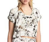 Womens Borderline Open Back Crop Top-Small,White/Black