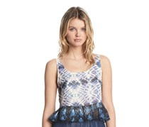 Kiind Of Contrast-Printed Peplum Top, Prussian blue