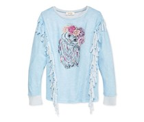Jessica Simpson Owl Graphic Fringed Sweater, Powder Blue