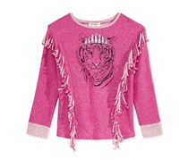 Jessica Simpson Graphic Fringed Sweater, Raspberry