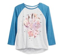 Jessica Simpson Embellished Contrast-Sleeve T-Shirt, Blue Sapphire