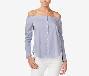 Bar III Off-The-Shoulder Shirt, Washed White Combo