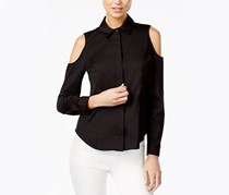 Bar III Cold-Shoulder Poplin Shirt, Deep Black