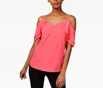 Women Draped Off-The-Shoulder Tank Top, Peony Coral