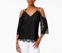 Bar III Strappy Lace Off-The-Shoulder Top, Black