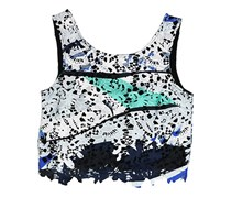 Bar III Printed Lace Top, Cobalt Glaze Combo