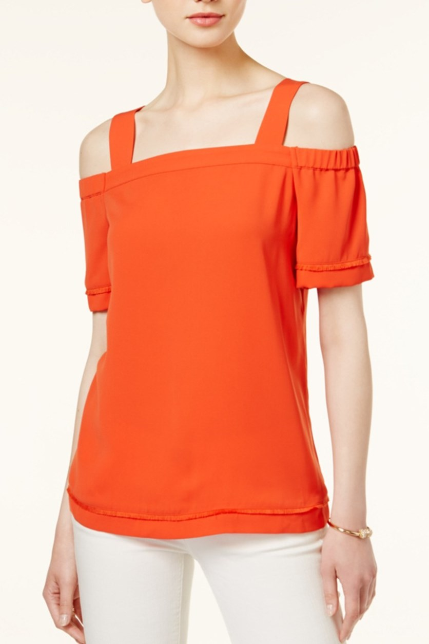 Fringe Off-The-Shoulder Top, Optic Orange