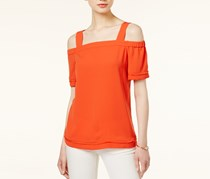 Bar III Fringe Off-The-Shoulder Top, Optic Orange