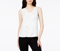 Bar III Women's Textured V-Neck Top, Washed White