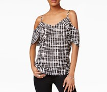 Bar III Grid-Print Draped Off-The-Shoulder Tank Top, Black Combo