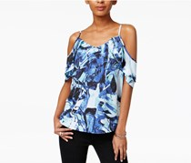 Bar III Draped Off-The-Shoulder Tank, Cobalt Glaze Combo