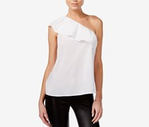 Bar III Cotton One-Shoulder Flounce Top, Washed White