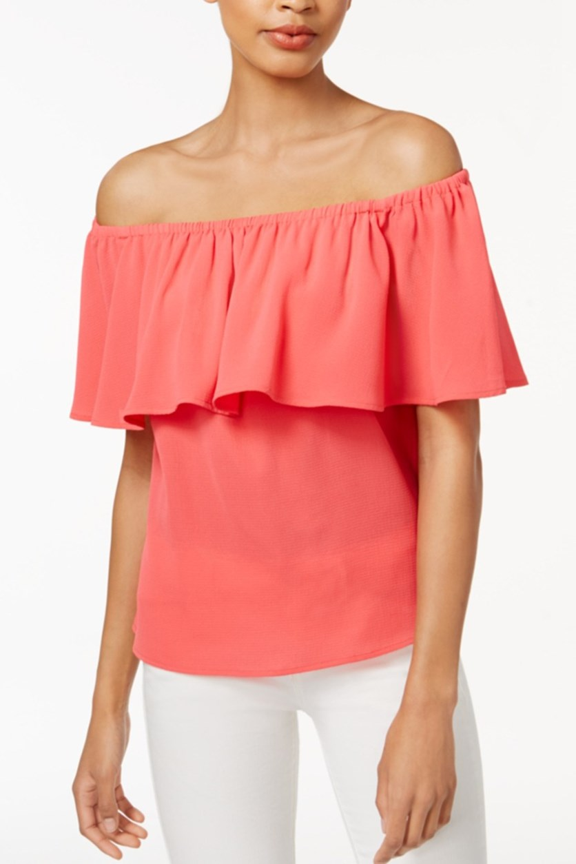 Ruffled Off-The-Shoulder Top, Peony Coral