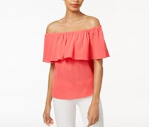 Bar Iii Ruffled Off-The-Shoulder Top, Peony Coral