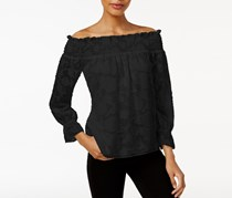 Bar III Textured Off-The-Shoulder Top, Deep Black