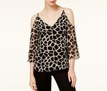 Bar III Cold-Shoulder Giraffe-Print Top, Blush Combo