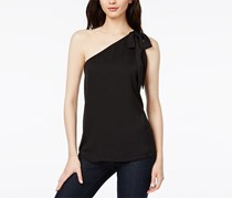 Bar III Printed One-Shoulder Top, Deep Black