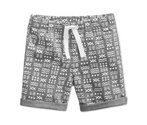 First Impressions Geo-Print Shorts, Pewter Heather
